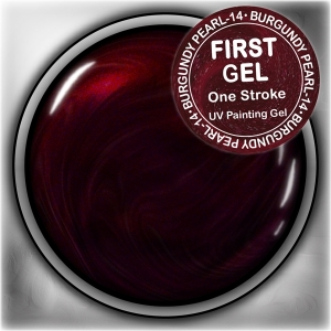 UV/LED гелови бои:First Gel One Stroke - Burgundy-pearl 5g