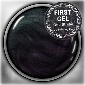 UV/LED гелови бои:First Gel One Stroke - Black-pearl 5g Перлена
